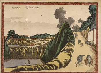 Katsushika Hokusai, Kudan Ushigafuchi (Ushigafuchi at Kudan) (ca.1804-1807), color woodblock print (nishiki-e), 18 × 24.5 cm. Bibliothèque nationale de France, Paris. ©BnF, dist. Rmn-Grand Palais / image BnF