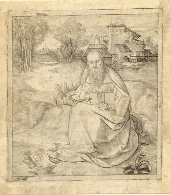Fig. 1. Giulio Campagnola, St. Jerome reading in a landscape with a group of buildings (ca.1500–15), engraving, 13.6 x 12.3 cm. ©Trustees of the British Museum.