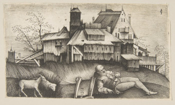Fig. 3. Giulio Campagnola, The old shepherd lying in a landscape, buildings behind, a goat and a sheep to the left (ca. 1515–18), engraving, 8 x 13.5 cm. Collection of the Metropolitan Museum of Art.