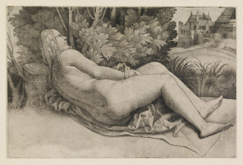 Fig. 4. Giulio Campagnola, Venus reclining in a landscape, a nude seen from behind (ca.1510–15), engraving with stipple, 12.1 x 18.2 cm. ©Trustees of the British Museum.
