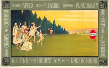 Alfred France, Hermes for speed, Eros for pleasure (1912), poster, 63.5 x 101.6 cm. Printed by Johnson, Riddle & Company Ltd, London. Published by Underground Electric Railways Company Ltd, London. ©TfL from the London Transport Museum collection.