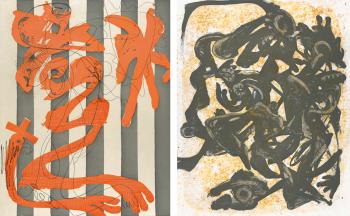Left: Charline von Heyl, Dust on a White Shirt (Stripes) (2014). Right: Charline von Heyl, Nightpack (2014).