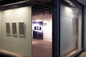 """Installation view: """"Leslie Mutchler & Jason Urban: UNIVERSAL,"""" Atelier Circulaire Gallery, 2014. From left to right: UNIVERSAL Gate (2014), screenprint, woodcut and lithograph, 24 x14 inches; Softboxes (2014), digital print, 65 x 96 inches; Rock (2014), digital print and acrylic, 10 x 15 inches."""