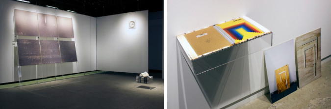 """Installation views: """"Leslie Mutchler & Jason Urban: UNIVERSAL,"""" Atelier Circulaire Gallery, 2014. Left, from left to right: Spraybooth (2014), digital print and acrylic, 96 x 96 inches; Clock (2014), digital print and acrylic, 12 x 12 inches; Magnesite on Newspaper (2014), magnesite, newsprint and acrylic, dimensions variable. Right, from left to right: Bayer Book (2014), digital print and acrylic, 4 x 24 x 13 inches; Gate II (woodblock) (2014), digital print and acrylic, 24 x 14 inches; Gate (woodblock) (2014), digital print and acrylic, 24 x 14 inches."""