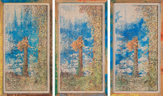 Matthew Brandt, Woodblock BL, BR, GN, OR, YL, GY, BK 1-3 (2014), color woodblock prints in ink on paper made from pinewood in pinewood block frame, 99 x 54 cm (framed) each.