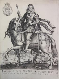 Fig. 1. Matthäus Merian, Equestrian Portrait of James I with a view of London (1621), engraving, 34 x 24.7 cm. Kupferstichkabinett, Berlin.