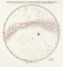 Distribution of Nebulae and Star Clusters in the Southern Hemisphere, lithograph, 9 7/8 x 12 1/2 inches. From Meyers Konversations-Lexikon, Bibliographisches Institut, Leipzig, 1896.
