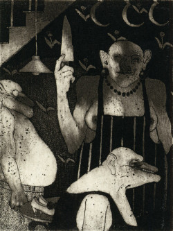 Marcus Rees Roberts, Mrs. White VIII (1976), etching and aquatint, image 10 x 7.4 cm. Edition of 30. Printed by the artist, London. Image courtesy of Pratt Contemporary, London.
