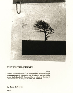 Marcus Rees Roberts, The Winter Journey (title sheet) (1979), etching and aquatint, image 23.5 x 19.5 cm. Edition of 6. Printed by the artist, London. Image courtesy of Pratt Contemporary, London.
