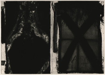 Marcus Rees Roberts, By the Black Window I (2014), etching and aquatint, image 39.6 x 55.9 cm. Edition of 15. Printed by the artist, London. Published by Pratt Contemporary, London. Image courtesy of Pratt Contemporary.