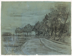 Fig. 1. Piet Mondrian, Bend in the Gein with a Row of Ten or Eleven Poplars (ca. 1905-6), charcoal with touches of white chalk, stumping and erasure, on blue paper, 48 x 62.7 cm. Museum of Fine Arts, Boston, William E. Nickerson Fund, 60.966.