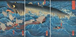 Utagawa Kuniyoshi, Retired Emperor Sutoku Sends his Followers to Rescue Tametomo (1851), woodblock, triptych of Oban-format prints, 39 × 79.5 cm. Private collection. Photo: Courtesy of Gallery Beniya.