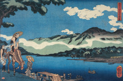 Utagawa Kuniyoshi, View of Tamura Ferry on the Road to Öyama in Sagami Province (ca. 1842), woodblock print, Oban format, 26.5 × 39 cm. Private collection. Photo: Courtesy of Gallery Beniya.