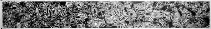 Corey Hagelberg, Dead Fish Anti-Frieze (2011), woodcut, 9 x 72 inches per panel. Image courtesy the artist.