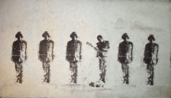 Drew Cameron and Drew Matott, Breaking Rank (2007), pulp stencil print on handmade paper from military uniforms, 29 x 51 inches. Courtesy Drew Cameron.