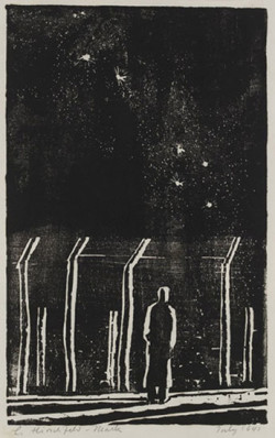 Ludwig Hirschfeld Mack, Desolation: Internment camp, Orange, NSW (July 1941), woodcut, 21.8 x 13.5 cm.