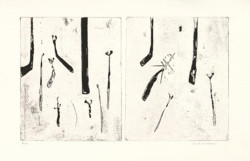 Fred Williams, Ferns diptych no. 2 (1970), etching, aquatint and drypoint, 27.6 x 46.3 cm. Edition of 30.