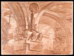 Fig. 5. Giovanni Battista Piranesi, Capriccio con pilastro ornato con mascheroni, pl. XV delle Carceri (1749/50-1761), etching and burin on copper, 41.6 x 55.8 cm. Courtesy of Istituto Nazionale per la Grafica, Rome, VIC 1400/363.