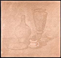 Fig. 7. Giorgio Morandi, Natura morta con vaso, lumino e piatto (verso) (1929), etching and aquatint on copper, 24.9 x 25.8 cm. Courtesy of Istituto Nazionale per la Grafica, Rome, VIC 1799/30r.