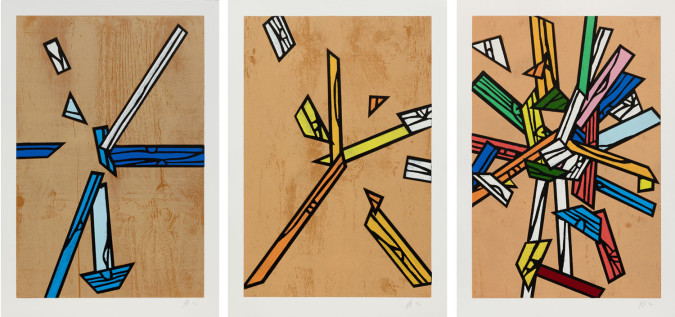 Richard Woods, Woodblock Inlays 1, 4 and 5 (2011).