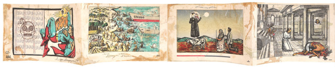 Fig. 4a. Enrique Chagoya, left panels of El Regreso del Caníbal Macrobiótico (The Return of the Macrobiotic Cannibal) (1998), accordion-folded artist's book, sixteen-color lithograph and woodcut on amate paper and chine collé, 7 1/2 x 92 inches overall. Edition of 30. Published and printed by Shark's Ink, Lyons, CO, ©Enrique Chagoya 1998. Photo: Bud Shark.