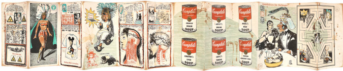 """Fig. 5a. Enrique Chagoya, left panels of Abenteuer der Kannibalen Bioethicists (Adventures of the Bioethicist Cannibals) (2001), accordion-folded artist's book, nine-color lithograph and woodcut with applied """"wiggle eyes"""" on amate paper on various chines collé, 7 1/2 x 92 inches overall. Edition of 30. Published and printed by Shark's Ink, Lyons, CO. ©Enrique Chagoya 2001. Photo: Bud Shark."""