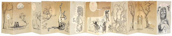 Fig. 6. Enrique Chagoya, En el Jardín de los Miserables (2010), accordion-folded artist's book, monotype on amate paper, 12 1/4 x 84 inches overall. Unique. Collection of the Faulconer Gallery, Grinnell College, Grinnell, IA, Marie-Louise and Samuel R. Rosenthal Fund. Published and printed by Shark's Ink, Lyons, CO. ©Enrique Chagoya 2010. Photo: Bud Shark.