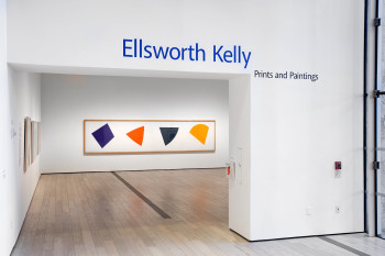 Fig. 5. Ellsworth Kelly, installtion view of Purple/ Red/ Gray/ Orange (1988), lithograph, 25.4 x 19.05 cm. Collection of Jordan D. Schnitzer.