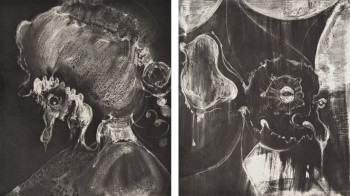 Fig. 9. Gert and Uwe Tobias, two prints from Untitled (2001), white ground aquatint with chine collé, portfolio of 11 aquatints (seven with etching) and one etching, 16 x 14 inches. Edition of 17. Printed and Published by Edition Jacob Samuel, Santa Monica.