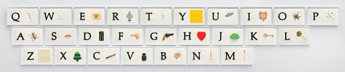 John Baldessari, A B C Art (Low Relief): A/Ant, Etc. (Keyboard) (2009). ©2009 John Baldessari and Mixografía.