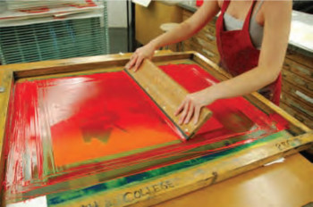 View of screenprinting technique from Dwight Pogue's Printmaking Revolution.