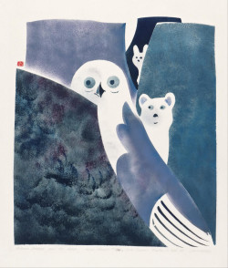 Osuitok Ipeelee, Owl, Fox and Hare Legend (1959), stencil, 56.9 x 45.7 cm. Printed by the artist,with James Houston, Cape Dorset, Canada.