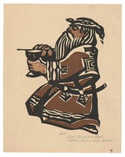 James Houston, Kneeling Ainu Priest (1958), woodcut, 25 x 20 cm. Printed by the artist, Tokyo, Japan.