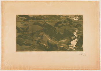 Victor Emile Prouvé, Oiseaux de proie (Birds of Prey), etching and aquatint in olive green ink, image 23.97 x 42.23 cm. Collection Minneapolis Institute of Arts. Gift of Mr. and Mrs. Edward A. Foster, 1956. P13,402.