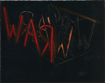 Bruce Nauman, Raw-War (1971), lithograph, sheet 56.8 x 71.8 cm. Printed by Paul Clinton and Ed Hamilton at Cirrus, published by Nicholas Wilder Gallery and Castelli Graphics. Fine Arts Museums of San Francisco, Anderson Graphic Arts Collection. Gift of the Harry W. and Mary Margaret Anderson Charitable Foundation. ©2011 Bruce Nauman / Artists Rights Society (ARS), New York.(Illustration from Proof: The Rise of Printmaking in Southern California.)