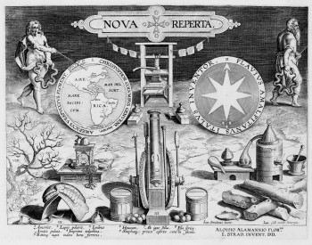 Fig. 2. Hans Collaert the Younger, after Stradanus (Jan van der Straet), Title Page of Nova reperta (New inventions and discoveries of modern times) (c. 1599- 1603), engraving, 28 x 34.4 cm. Sarah Campbell Flaffer Foundation, Houston, BF.1998.9.10.