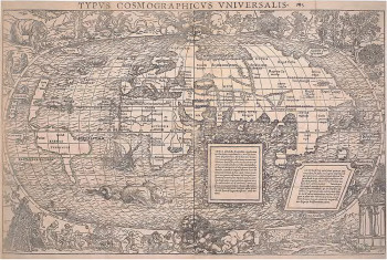 Fig. 3. Hans Holbein the Younger and Sebastian Münster, Universal cosmographic map (1532), woodcut from two blocks and letterpress, 35.3 x 55 cm. The British Museum. ©Trustees of the British Museum.