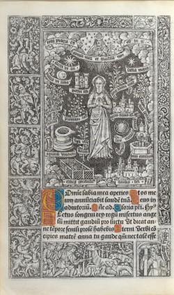 Jean d'Ypres, Virgin of the Litanies, metalcut print, Book of Hours (Use of Rome), published by Thielman Kerver, Paris, December 1502.