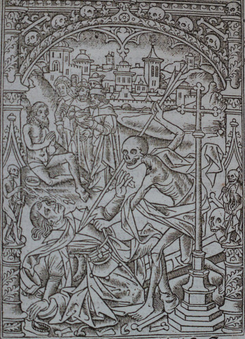 Jean d'Ypres, Young Man Encountering Death and Job on a Dung Heap, metalcut print, Book of Hours (Use of Rome), published by Thielman Kerver, Paris, April 1499.