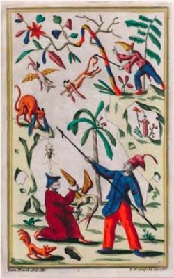 Josef Friedrich Leopold, Phantastische Jagdgesellschaft (Fantastical Hunting Party) (c. 1710/1720), from the volume Inventions chinoises VI, sheet 5, hand-colored etching, 30 x 18.9 cm. Collection Kupferstich-Kabinett, Dresden.