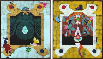 Left: Gert and Uwe Tobias, Great Green Dresden Diamond I (2012), color woodcut on canvas, 200 x 168 cm, GUT 1912. Right: Dresden Satyr I (2012), color woodcut on canvas, 200 x 168 cm, GUT 1914. ©Gert and Uwe Tobias / VG Bild-Kunst, Bonn. Photo: ©Alistair Overbruck, Köln, courtesy cfa Berlin.