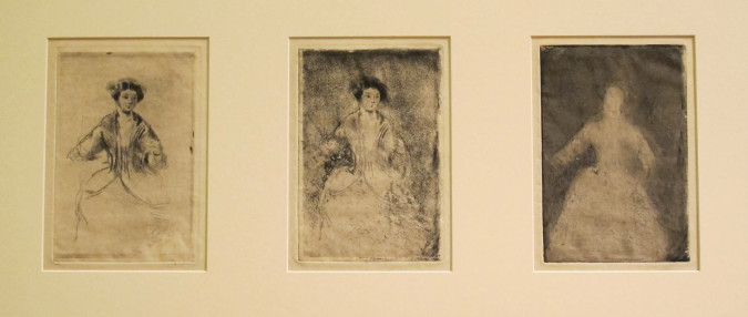Mary Cassatt, Costume Study after Paul Gavarni, New York Public Library. Wallach Fund. Left: State i (ca. 1878), etching and drypoint, image 20.5 x 13.7 cm, sheet 26.2 x 20.4 cm. Center: State ii (ca. 1878), etching, drypoint and aquatint, image 20.5 x 13.7 cm, sheet 26.2 x 20.4 cm. Right: State iii (ca. 1878), plate burnished with traces of etching and aquatint, image 20.5 x 13.7 cm, sheet 25.1 x 20.1 cm.