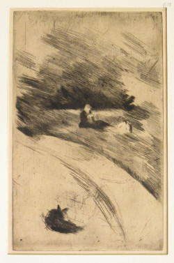Mary Cassatt, Sewing on the Grass, State i (ca. 1884), etching and drypoint, image 22.3 x 14.1 cm, sheet 33.8 x 27.8 cm. New York Public Library, Samuel Putnam Avery Collection.