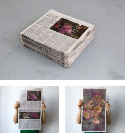 "Becca Albee, 4000 US Deaths and Just a Handful of Public Images (2010) (composite of three views), from the series Newspapers and Flowers. Offset lithography on newsprint, double-sided, 22 1/2 x 12 1/2 inches. Unlimited edition.  Published by North Drive Press, Brooklyn. On view at ""News/Prints: Printmaking and the Newspaper"" at IPCNY, closed October 19. Courtesy of the artist."