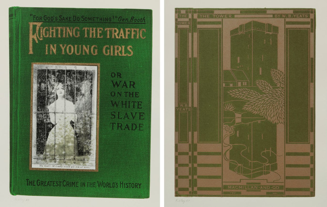 Left: R.B. Kitaj, Fighting the Traffic in Young Girls from In Our Time: Covers for a Small Library After the Life for the Most Part (1969), screenprint and collage on paper, 30 1/2 x 22 11/16 inches. Printed by Kelpra Studio, London, UK. Published by Marlborough AG, Schellenberg, FL. The Jewish Museum, NY, Gift of the R.B. Kitaj Estate. ©R.B. Kitaj Estate. Right: R.B. Kitaj, The Tower from In Our Time: Covers for a Small Library After the Life for the Most Part (1969), screenprint on paper, 30 1/2 x 22 3/4 inches. Printed by Kelpra Studio, London, UK. Published by Marlborough AG, Schellenberg, FL. The Jewish Museum, NY, Gift of the R.B. Kitaj Estate. ©R.B. Kitaj Estate.