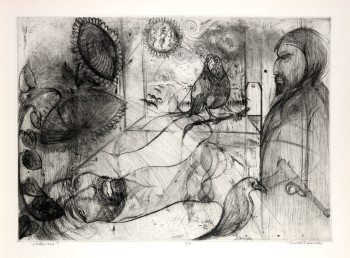 Fig. 2. Munio Makuuchi, Whither Too? (n.d.), drypoint printed in black on thick, moderately textured, white paper, image 50.6 cm x 70.5 cm; sheet 61.4 cm x 79.9 cm. State proof, edition unknown. Printed by Andrew Balkin, ACB Editions, Madison, WI. Smith College Museum of Art. Gift of Jamie Makuuchi.