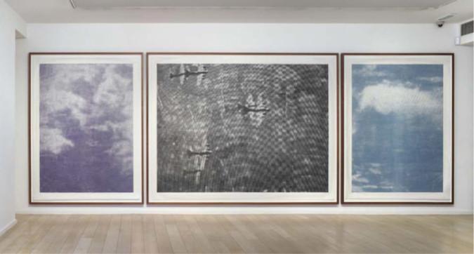 Fig. 7. Christiane Baumgartner, Luftbild (Triptychon) (2010), woodcut, three panels:  left: 260 x 202 cm, center: 260 x 350 cm, right: 260 x 202 cm. Edition of 3. Image courtesy Alan Cristea Gallery, ©VG Bild-Kunst, Bonn 2011.