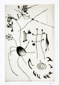 Joan Miró, plate 1 from the Black and Red Series (1938), etching, 6 5/8 x 10 3/16 inches. The Museum of Modern Art, purchased with the Frances Keech Fund and funds given, ©2011 Successió Miró / Artists Rights Society (ARS), New York / ADAGP, Paris.