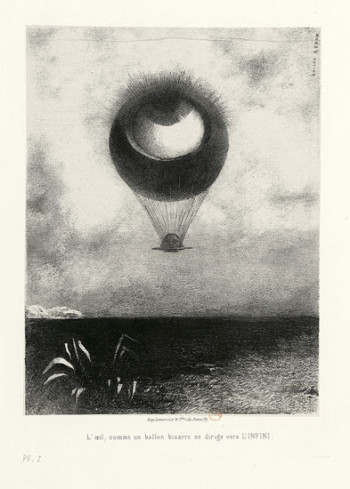 Fig. 2. Odilon Redon, L'Oeil, comme un ballon bizarre se dirige vers l'infini (The Eye Like a Strange Balloon Mounts Toward Infinity) (1882), lithograph, 25.9 x 19.6 cm. Photo: ©Bibliothèque nationale de France.