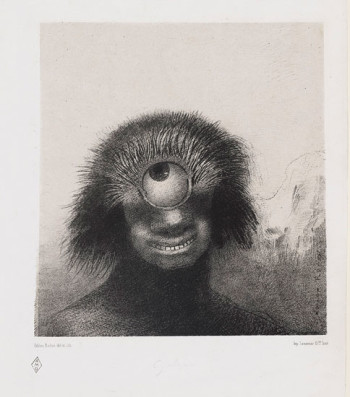 Fig. 3. Odilon Redon, Le polype difforme flottait sur les rivages, sorte de cyclope souriant et hideux (The Misshapen Polyp Floated on the Shores, a Sort of Smiling and Hideous Cyclops), plate 3 from the portfolio Les Origines (1883), lithograph on chine appliqué, 21.3 x 19.9 cm.